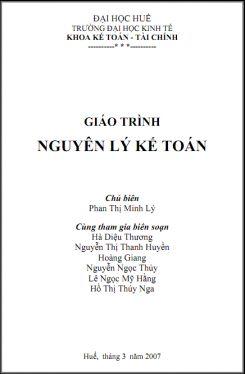 Giáo trình Nguyên lý kế toán - Phan Thị Minh Lý