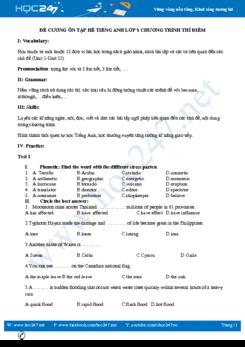 Đề cương ôn tập hè Tiếng Anh lớp 8 Thí điểm