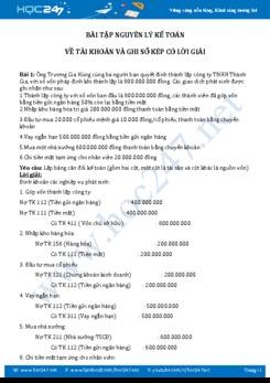 Bài tập Nguyên lý kế toán về tài khoản và ghi sổ kép có lời giải