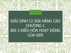 Giải Sinh 12 SGK nâng cao Chương 1 Bài 3 Điều hòa hoạt động của gen