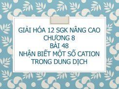 Giải Hóa 12 SGK nâng cao Chương 8 Bài 48 Nhận biết một số cation trong dung dịch