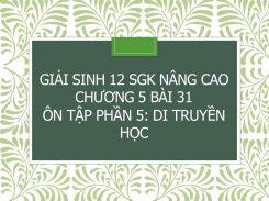 Giải Sinh 12 SGK nâng cao Chương 5 Bài 31 Ôn tập phần 5: Di truyền học