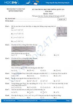 Đáp án đề thi THPT QG 2019 môn Toán mã đề 109
