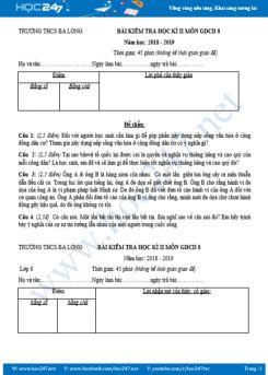 Bộ đề thi HK2 môn GDCD lớp 8 Trường THCS Ba Lòng năm học 2018-2019
