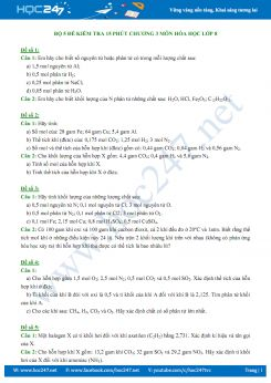 Bộ 5 đề kiểm tra 15 phút Chương 3 môn Hóa học 8