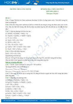 Đề kiểm tra 1 tiết Chương 2 môn Hóa học 8 - Trường THCS Lăng Thành (có đáp án)