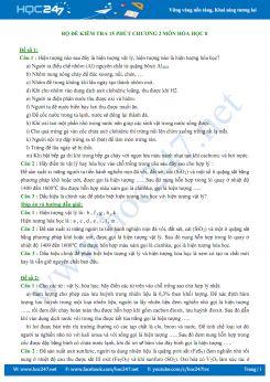 Bộ 5 đề kiểm tra 15 phút Chương 2 môn Hóa học 8