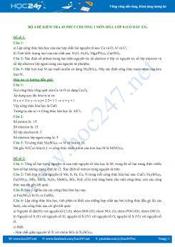 Bộ 4 đề kiểm tra 1 tiết Chương 1 môn Hóa học 8 (có đáp án chi tiết)