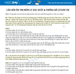 Tổng hợp câu hỏi trắc nghiệm môn LT Xác suất & Thống kê có đáp án