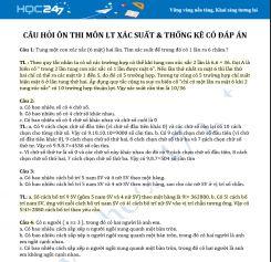 Câu hỏi ôn thi môn LT Xác suất & Thống kê