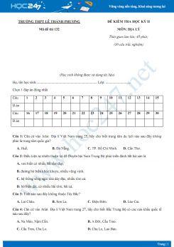 Đề thi HK 2 môn Địa lớp 12 năm 2018-2019 - Trường THPT Lê Thành Phương