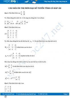 Câu hỏi ôn thi môn Đại số Tuyến tính