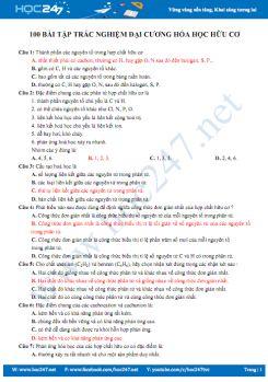 100 Bài tập trắc nghiệm Đại cương hóa hữu cơ (có đáp án)