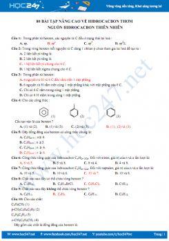 80 Bài tập nâng cao về hidrocacbon thơm, nguồn hidrocacbon thiên nhiên (có đáp án)