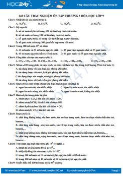 142 Câu hỏi trắc nghiệm ôn tập chương 5 Hóa 9