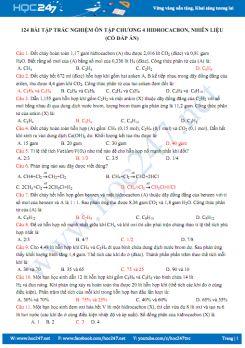 124 Bài tập trắc nghiệm ôn tập Chương 4 Hidrocacbon, nhiên liệu (có đáp án)