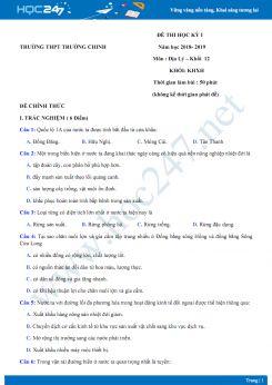 Đề thi HK1 môn Địa lớp 12 chuyên năm 2018-2019 - Trường THPT Trường Chinh