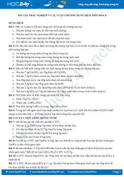 Bài tập tự luận Chương dung dịch môn Hóa 8