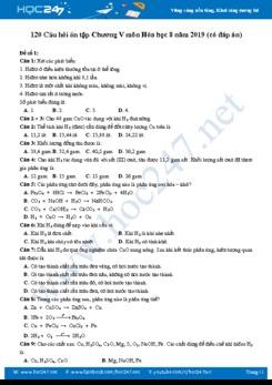 120 Câu hỏi ôn tập chương 5 môn Hóa học 8 (có đáp án)