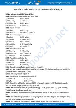Một số bài toán cơ bản ôn tập chương 3 môn Hóa học 8