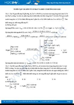 Tuyển tập câu hỏi vô cơ hay và khó (có hướng dẫn giải)