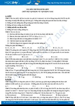 Câu hỏi chương este - lipit (Mức độ vận dụng và vận dụng cao)