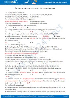 Ôn tập chương III Aminoaxit, Pepit, Protein