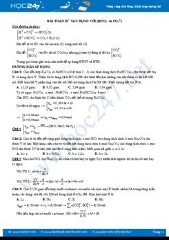 Bài toán H+ tác dụng với (HCO3- và CO32-) có đáp án