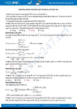 Phương pháp giải bài tập về H3PO4 (có đáp án)