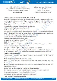 Đề thi Chuyên Hóa 10 năm 2019 - Hội các trường Chuyên Vùng Duyên Hải và ĐB Bắc Bộ, THPT Chuyên Bắc Giang (có đáp án)