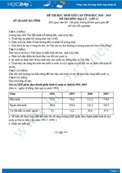 Đề thi HSG môn Địa lớp 12 năm 2018-2019 - Tỉnh Hà Tĩnh