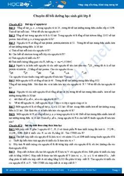 Chuyên đề bồi dưỡng học sinh giỏi môn Hóa học 8