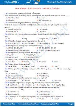 Trắc nghiệm lý thuyết Ancol - Phenol (có đáp án)