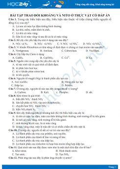 Bài tập trao đổi khoáng và nito ở thực vật Sinh học 11 có đáp án và lời giải chi tiết