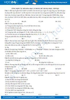 Tổng hợp câu hỏi Hóa học 10 trong đề thi đại học, THPT QG