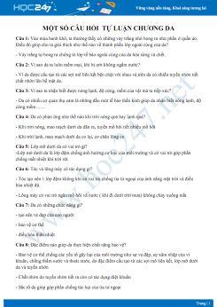 Câu hỏi tự luận ôn tập chương Da Sinh học 8 có đáp án