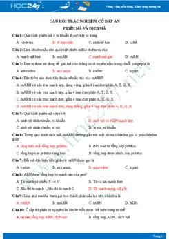 Câu hỏi trắc nghiệm nâng cao chủ đề Phiên mã, dịch mã Sinh học 9 có đáp án