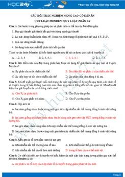 Câu hỏi trắc nghiệm nâng cao chủ đề Quy luật phân ly Sinh học 9 có đáp án