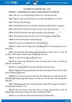 Câu hỏi tự luận ôn tập Chương I - Phần Vi sinh vật Sinh học 10