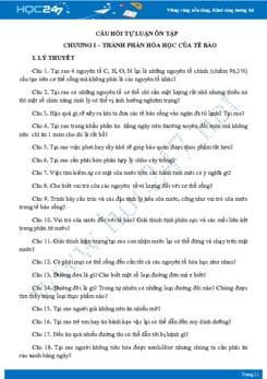 Câu hỏi tự luận ôn tập Chương I - Sinh học 10
