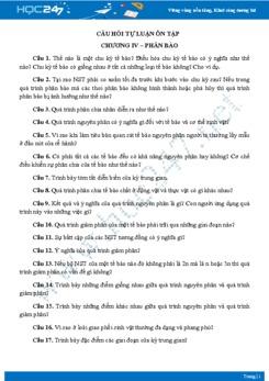 Câu hỏi tự luận ôn tập Chương IV- Sinh học 10