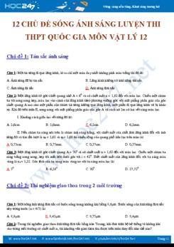 12 chủ đề về Sóng ánh sáng trong Luyện thi THPT QG môn Vật lý 12 có đáp án