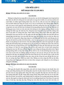 Viết đoạn văn tả cơn mưa - Văn mẫu lớp 5