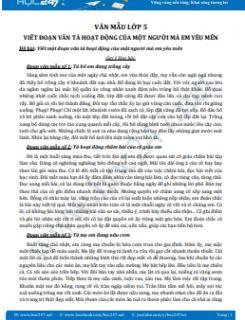 Viết một đoạn văn tả hoạt động của một người mà em yêu mến - Văn mẫu lớp 5