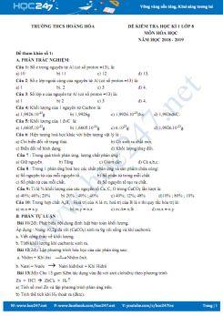 Đề kiểm tra HK1 môn Hóa học 8 năm 2018 - 2019 Trường THCS Hoằng Hóa