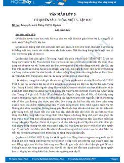 Tả quyển sách Tiếng Việt 5, tập hai - Văn mẫu lớp 5