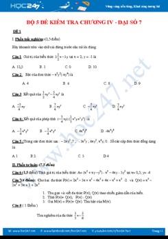 Bộ 5 đề kiểm tra 1 tiết Chương 4 Đại số 7 năm 2018