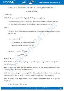 Lý thuyết và phương pháp giải bài tập chủ đề Tốc độ môn Vật lý 8