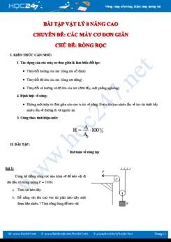 Các bài tập nâng cao chủ đề Ròng rọc môn Vật lý 8 có đáp án