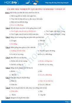 Câu hỏi trắc nghiệm ôn tập Chương VII Sinh học 7 có đáp án